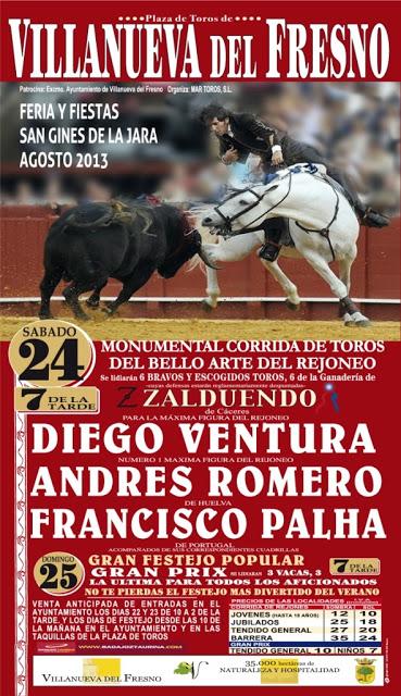 Los rejoneadores Diego Ventura, Andrés Romero y Francisco Palha se darán cita este sábado en los festejos de San Ginés
